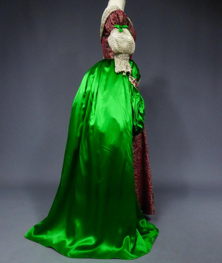 A Jeanne Lanvin Satin and Silver Lamé Historical Fancy Court Dress numbered 2802 For Sale 5