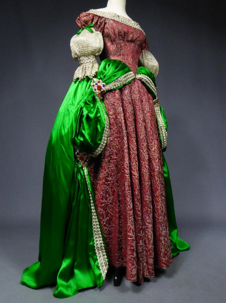 A Jeanne Lanvin Satin and Silver Lamé Historical Fancy Court Dress numbered 2802 For Sale 2
