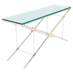 John Vesey Console Table of Aluminium, Glass and Brass