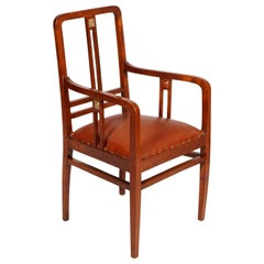 Josef Hoffmann Wiener Werkstätte Armchairs Restored Re-Upholstered Leather