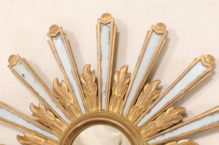 Hand-Carved Joyous Early 20th Century Spanish Gilt Sunburst Ray Mirror