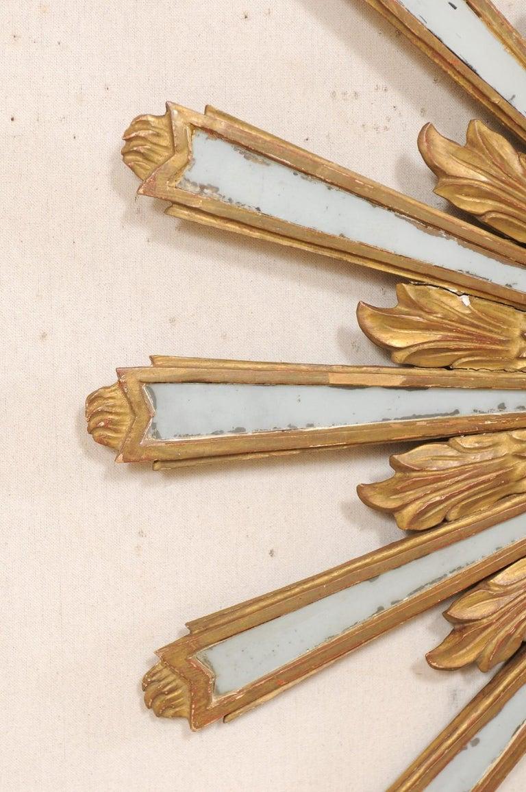 Wood Joyous Early 20th Century Spanish Gilt Sunburst Ray Mirror