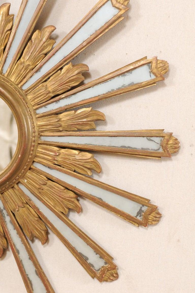 Joyous Early 20th Century Spanish Gilt Sunburst Ray Mirror 1