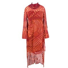 A-K-R-I-S Zebra Print Masai Collar Mangosteen Silk Dress US 6