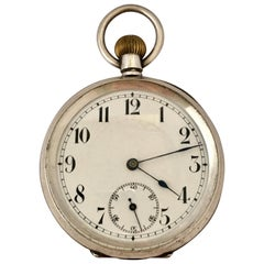 Keyless Antique Silver Pocket Watch