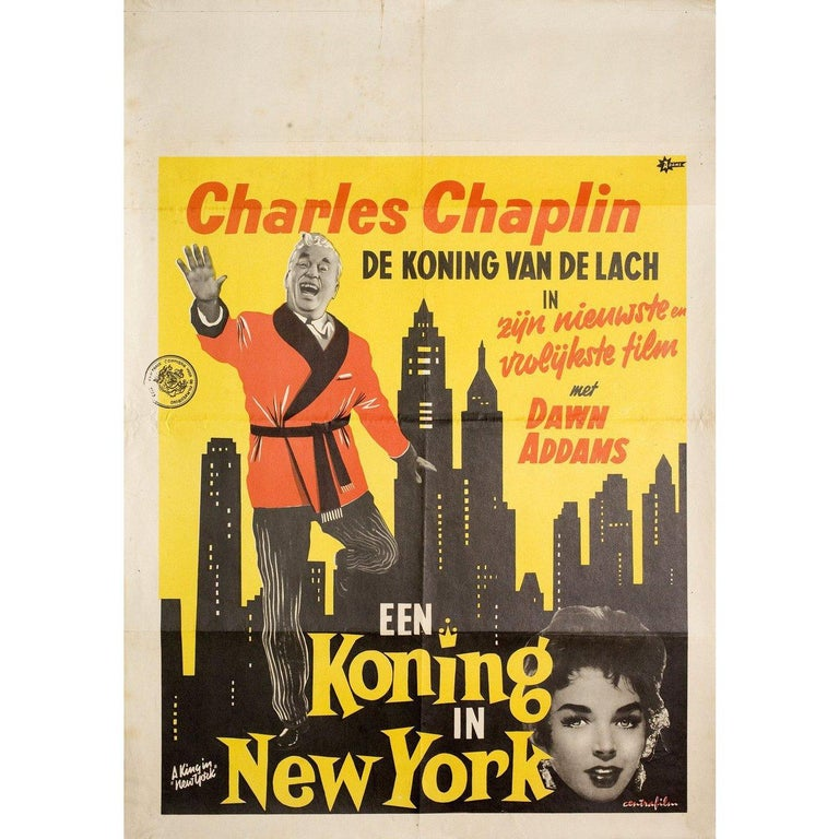 Original 1957 Dutch poster by Adams for the film A King in New York directed by Charles Chaplin with Charles Chaplin / Maxine Audley / Jerry Desmonde / Oliver Johnston. Very good condition, folded with tape on back. Many original posters were issued