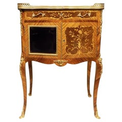 Kingwood and Marquetry Inlaid French Side Cabinet