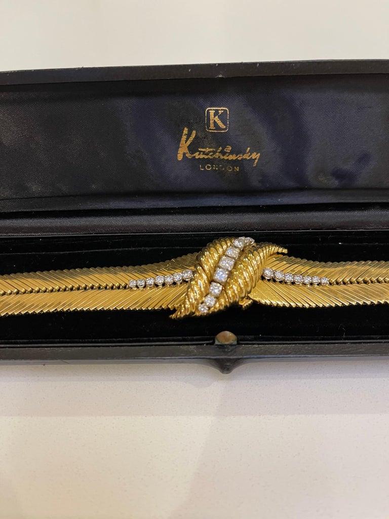 Retro Kutchinsky 18kt Yellow Gold and Diamond Ladies Wristwatch, in Original Box For Sale