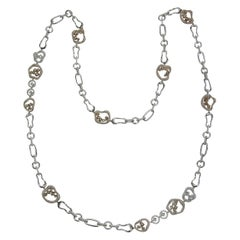 À La Mode 18 Karat White and Pink Gold Diamond Necklace