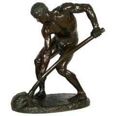 """""""A la terre!"""" French Antique Bronze Sculpture by Alfred Boucher & Barbedienne"""