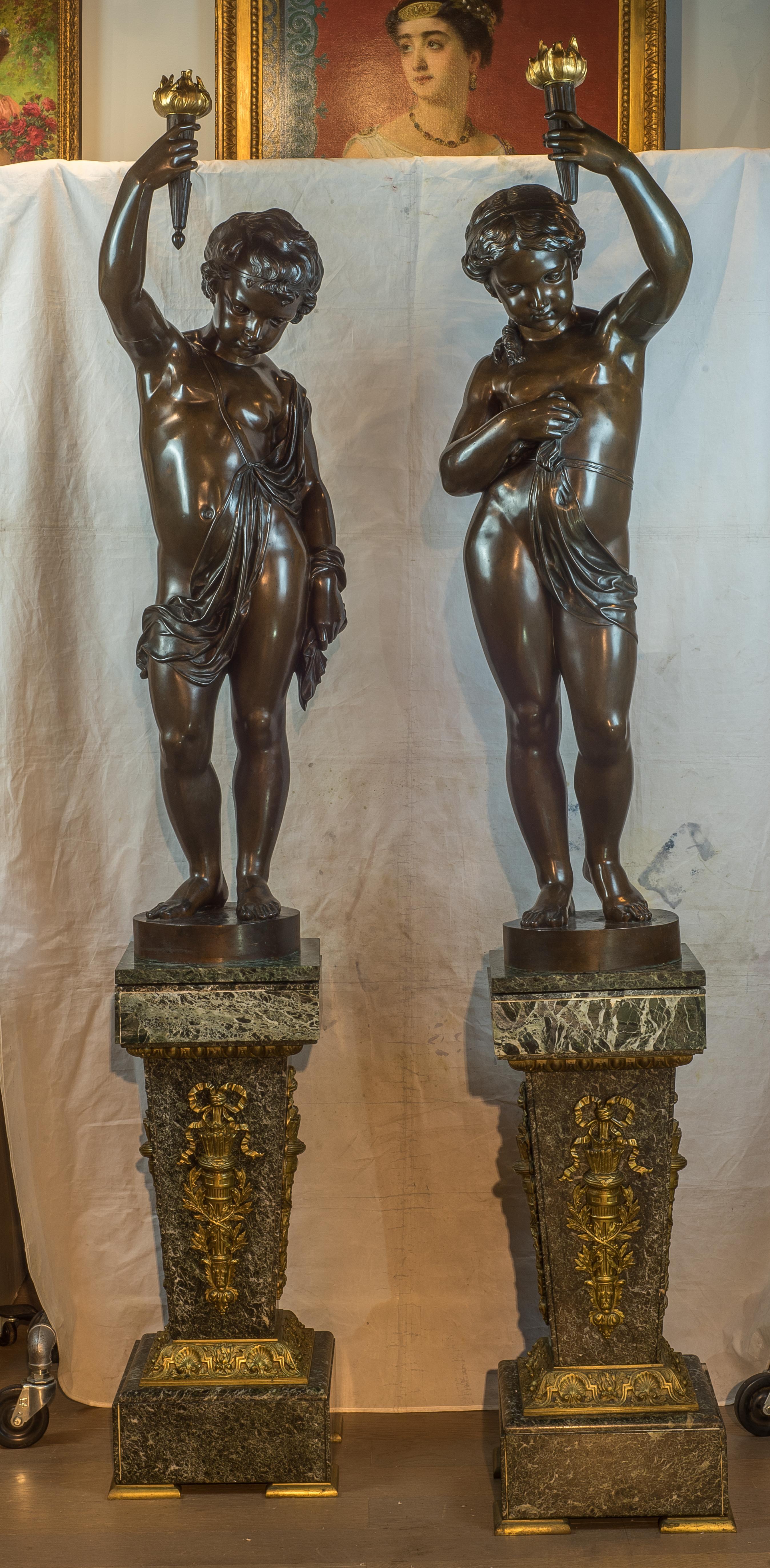 Bronze Figural Torchères and Pedestal - Médaille d'or - Exposition de 1867