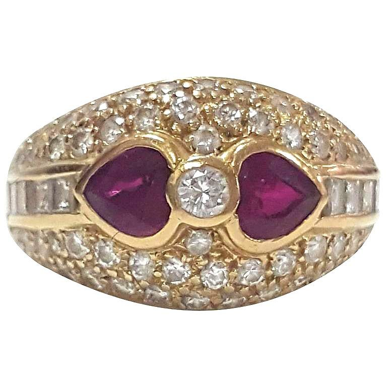 Women's or Men's Stunning Diamond and Ruby Antique Ring Size 5 1/4
