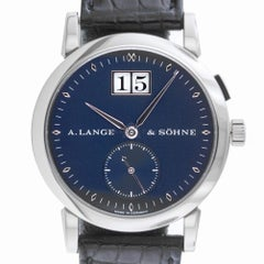 A Lange & Sohne 105.027 Saxonia Big Date Dark Blue 18 Karat White Gold Near Mint