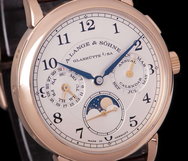 A. Lange & Sohne 1815 Annual Calendar Rose Gold Silver Dial 238.032 Watch In Excellent Condition For Sale In London, GB