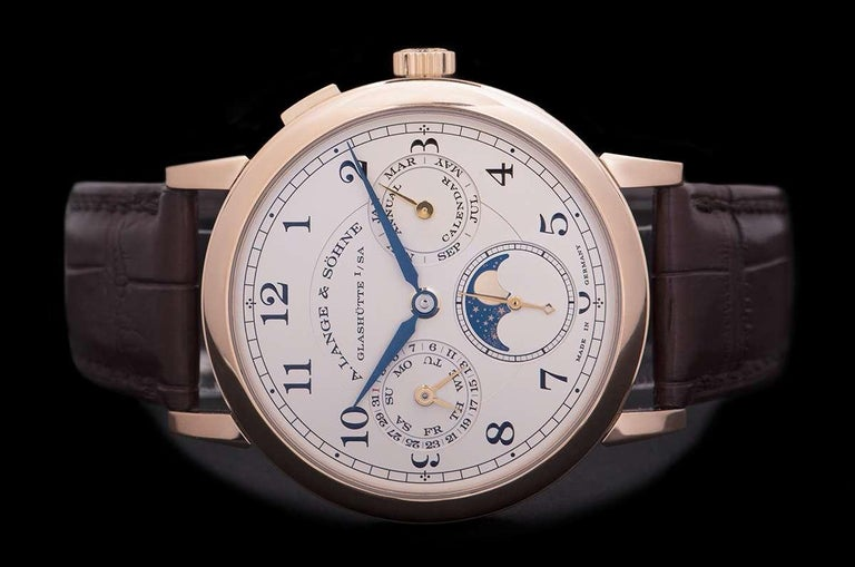 Men's A. Lange & Sohne 1815 Annual Calendar Rose Gold Silver Dial 238.032 Watch For Sale