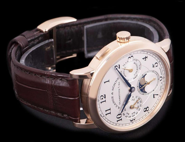 A. Lange & Sohne 1815 Annual Calendar Rose Gold Silver Dial 238.032 Watch For Sale 1