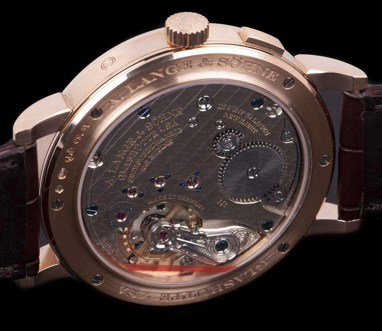A. Lange & Sohne 1815 Annual Calendar Rose Gold Silver Dial 238.032 Watch For Sale 3