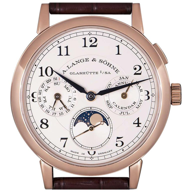 A. Lange & Sohne 1815 Annual Calendar Rose Gold Silver Dial 238.032 Watch For Sale