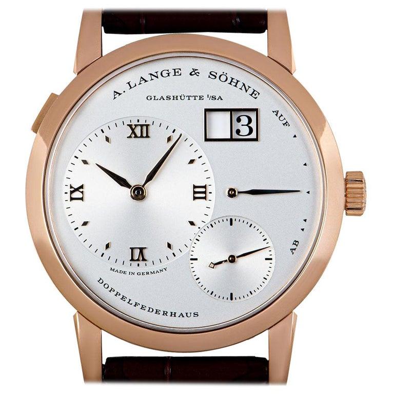 A. Lange & Sohne Lange 1 18k Rose Gold Argente Silver Dial 191.032/LSLS1914AD For Sale