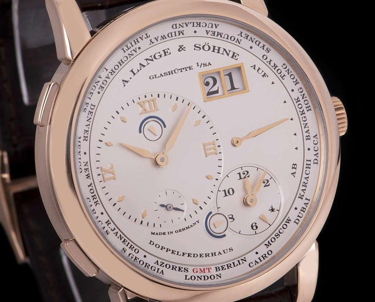 A. Lange & Sohne Lange 1 Time Zone Rose Gold Silver Dial B&P 116.032/LS1164AD In Excellent Condition For Sale In London, GB