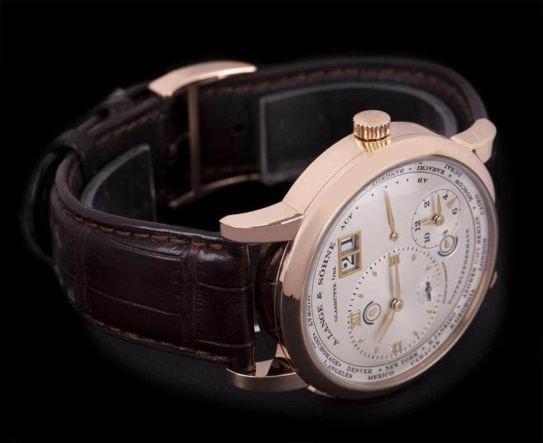 A. Lange & Sohne Lange 1 Time Zone Rose Gold Silver Dial B&P 116.032/LS1164AD For Sale 1