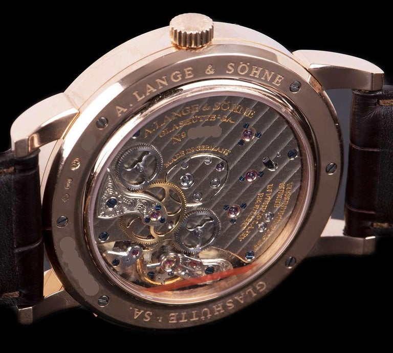 A. Lange & Sohne Lange 1 Time Zone Rose Gold Silver Dial B&P 116.032/LS1164AD For Sale 3