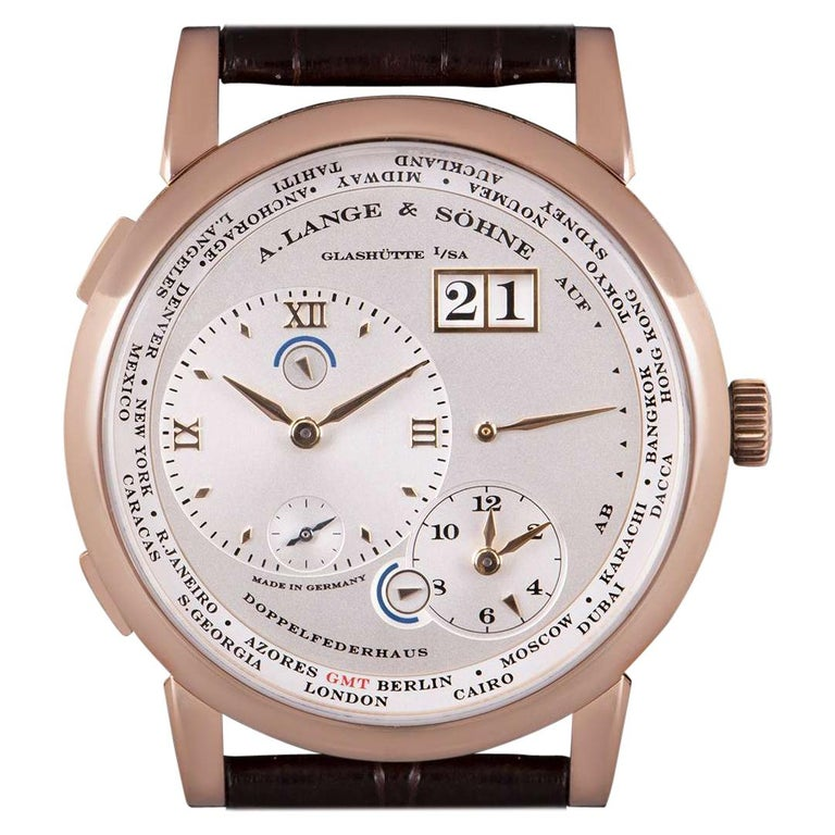 A. Lange & Sohne Lange 1 Time Zone Rose Gold Silver Dial B&P 116.032/LS1164AD For Sale