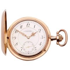 A. Lange & Sohne Pocket Watch Half Hunter Case 14 Karat Yellow Gold Calibre 43