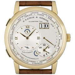 A. Lange & Söhne Yellow Gold Silver Dial Time Zone 1 B&P 116.021