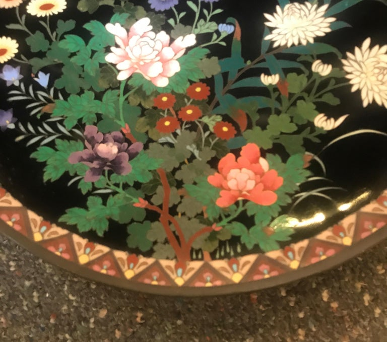 Enameled Meiji Period Japanese Cloisonné Charger For Sale
