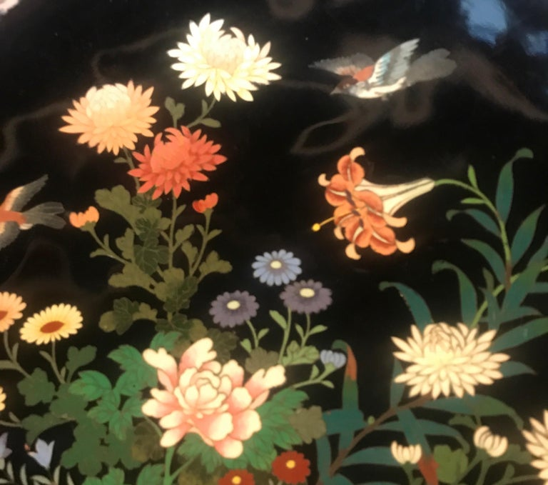 Meiji Period Japanese Cloisonné Charger In Good Condition For Sale In Lambertville, NJ