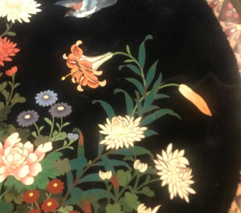 Copper Meiji Period Japanese Cloisonné Charger For Sale