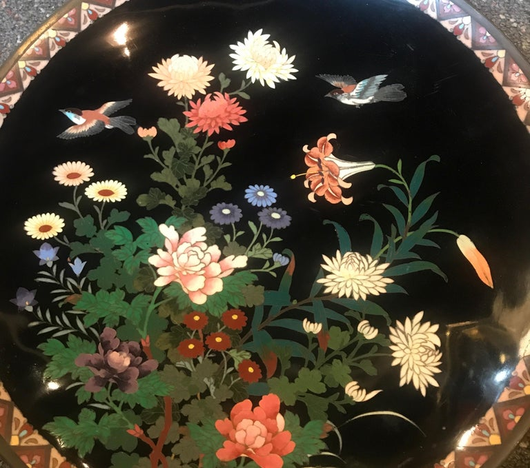 Meiji Period Japanese Cloisonné Charger For Sale 1