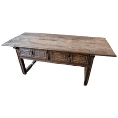 Large 17th Century 2-Drawer Side Table with Geometric Design