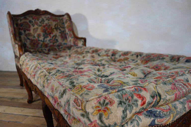 Upholstery Large 18th Century French Chaise Longue, Day Bed