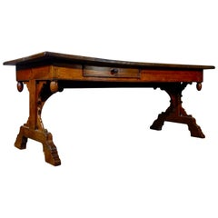 Large 18th Century French Provincial Farmhouse Kitchen Table Drawer Walnut Oak