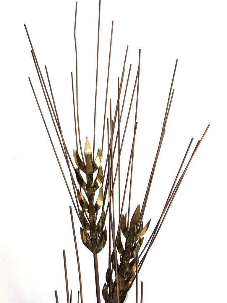 Mid-Century Modern Large 1970s Curtis Jere Floor Standing Brass and Metal Wheat Sheaf Sculpture For Sale