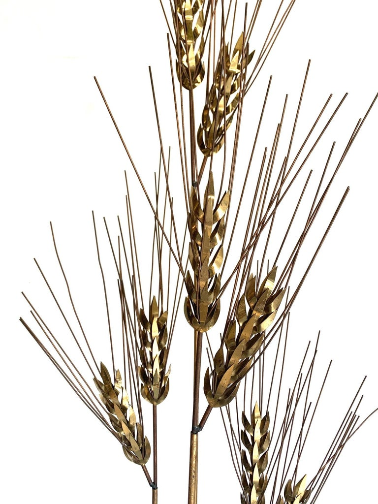 Central American Large 1970s Curtis Jere Floor Standing Brass and Metal Wheat Sheaf Sculpture For Sale