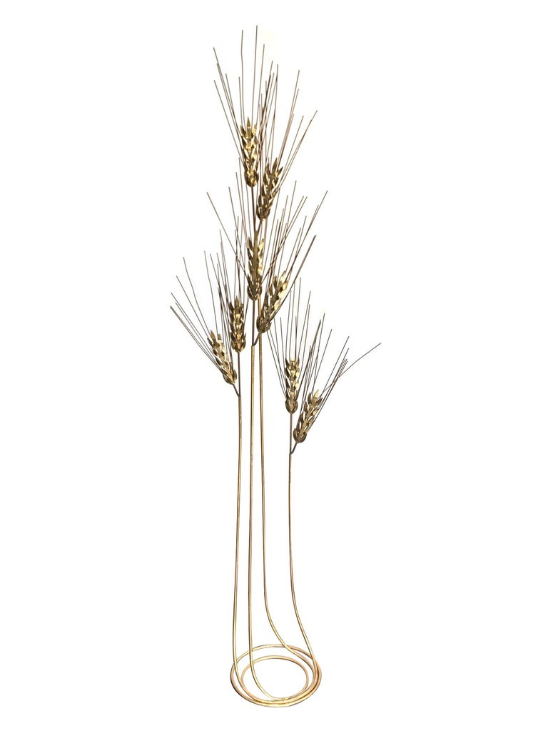 Polished Large 1970s Curtis Jere Floor Standing Brass and Metal Wheat Sheaf Sculpture For Sale