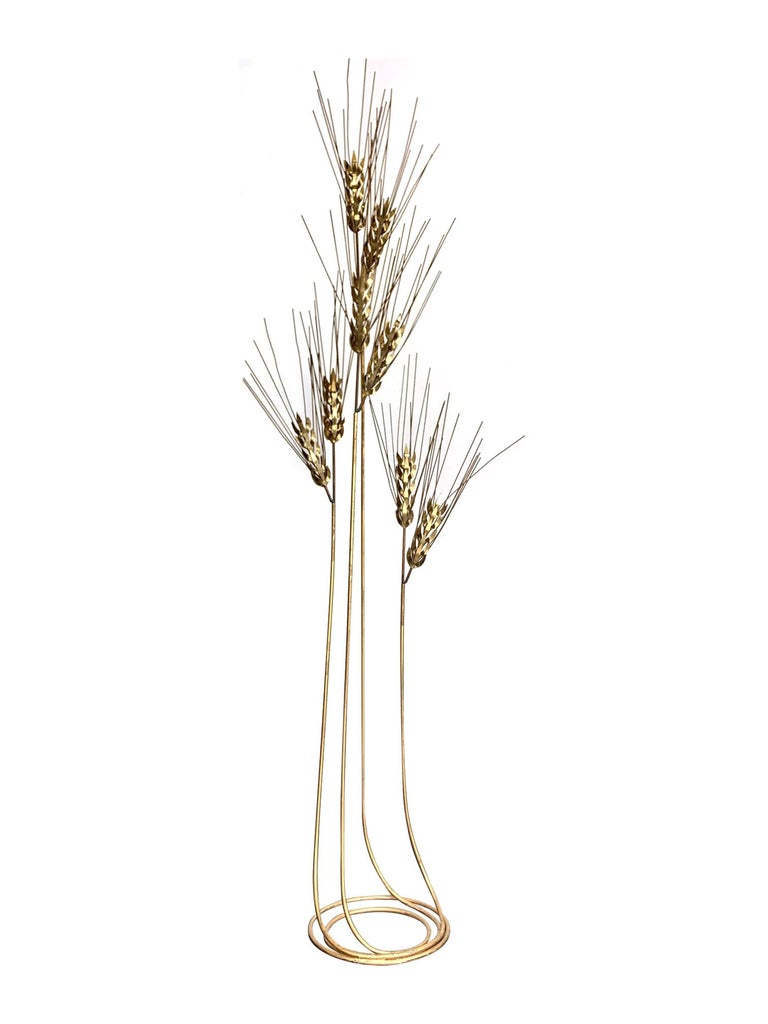 Late 20th Century Large 1970s Curtis Jere Floor Standing Brass and Metal Wheat Sheaf Sculpture For Sale