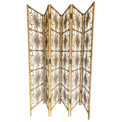 Large 1970s French Riviera Hinged Six-Panel Bamboo Screen, Room Divider
