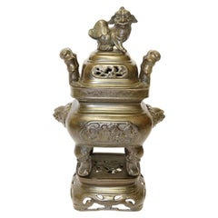 Large 19th Century Chinese Cast and Engraved Bronze Censer with Stand and Cover