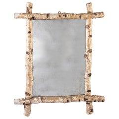 Large 19th Century Birch Wood Mirror with Mercury Plate