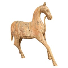 Large 19th Century Carved Indian Horse, Original Paint