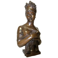 Large 19th Century French Bronze Bust of Juliette Recamier