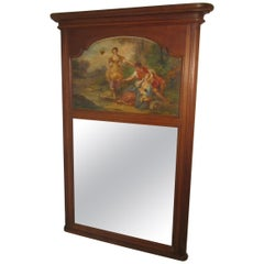 Large 19th Century French Oak Trumeau Mirror, Oil on Canvas