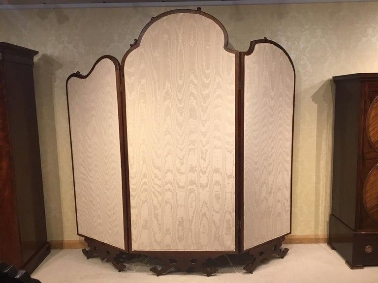 Large 19th Century French Walnut Three Fold Screen in the Rococo Style For Sale 6