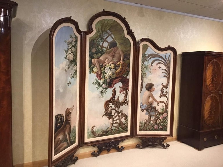 Large 19th Century French Walnut Three Fold Screen in the Rococo Style For Sale 3