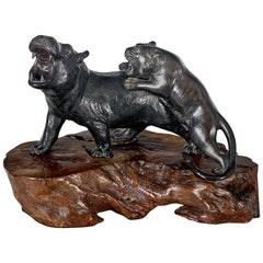 Large 19th Century Japanese Meiji Period Bronze Tiger Attacking a Hippo