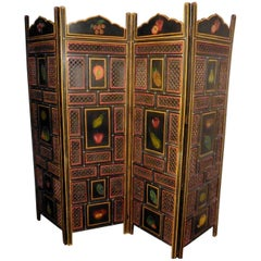 Large 19th Century North African Folk Art Pierced, Painted 4-Fold Screen